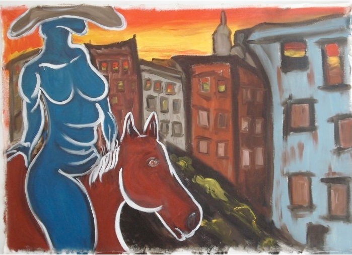 Blue Nude, Red Horse