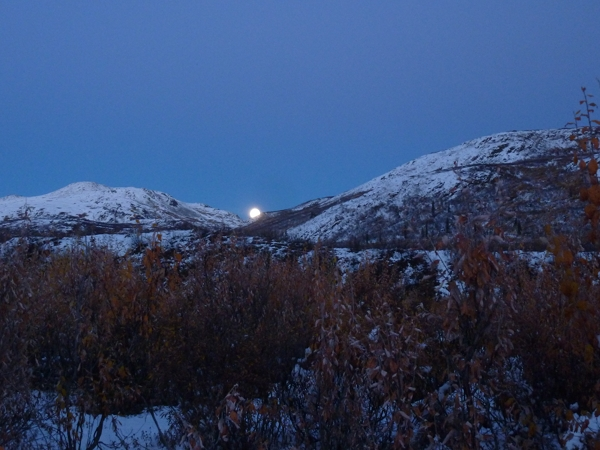 Full moon rising above our camp.